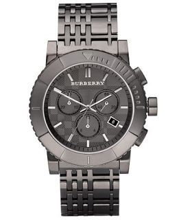Burberry Watch, Mens Chronograph Gray Ion Plated Stainless Steel Bracelet 43mm BU2305   Watches   Jewelry & Watches