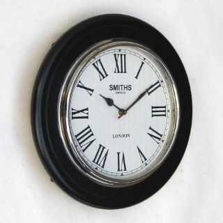 "Round Wall Clock with Hardwood and Chrome Frame, Roman Numerals   14"" Diameter"