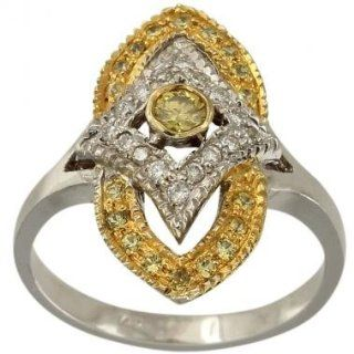 Antique Diamond Ring With 0.08ct Center Canary Yellow Diamond And 0.25cts Of Fine White Diamonds And Yellow Sapphires In 10K White Gold Vintage Diamond Ring   5 Da'Carli Jewelry