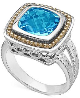 Sterling Silver and 18k Gold Blue Topaz Ring (5 ct. t.w.)   Rings   Jewelry & Watches