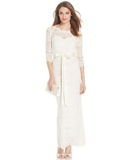 Xscape 3/4 Sleeve Lace Gown with Sash   Dresses   Women