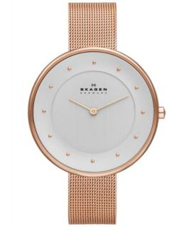 Skagen Denmark Watch, Womens Rose Gold Tone Stainless Steel Mesh Bracelet 35mm SKW2068   Watches   Jewelry & Watches