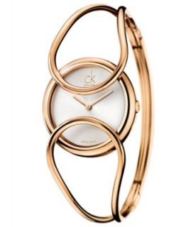 Calvin Klein Watch, Womens Swiss Air Gold PVD Stainless Steel Bangle Bracelet 30mm K1N22526   Watches   Jewelry & Watches