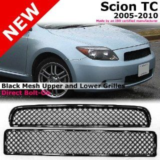 Scion TC 05 10 3D Mesh Upper & Lower Black Front Hood Bumper Grille Grill Automotive