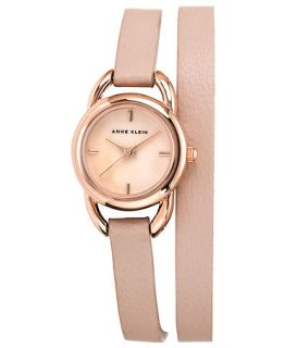 Anne Klein Watch, Womens Light Pink Leather Double Wrap Strap 22mm AK 1432RGLP   Watches   Jewelry & Watches