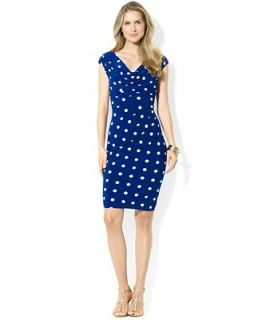 Lauren Ralph Lauren Petite Dress, Cap Sleeve Polka Dot Jersey   Dresses   Women
