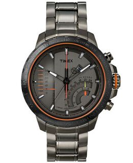 Timex Mens Premium Intelligent Quartz Linear Chronograph Gray Ion Plated Stainless Steel Bracelet Watch 47mm T2P273AB   Watches   Jewelry & Watches