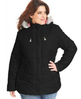 Calvin Klein Plus Size Coat, Hooded Faux Fur Trim Puffer Parka   Coats   Women