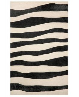 Liora Manne Area Rug, Indoor/Outdoor Promenade 2116/48 Wavey Stripe Black 36x 56   Rugs