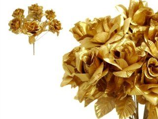 168 Open Velvet Roses Wedding Flowers Bouquets Supply   Gold   Artificial Flowers