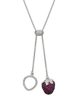 SIS by Simone I Smith Platinum Over Sterling Silver Necklace, Pink Crystal Strawberry Drop Pendant   Necklaces   Jewelry & Watches