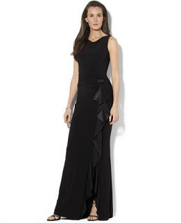 Lauren Ralph Lauren Petite Sleeveless Ruffled Jersey Gown   Dresses   Women