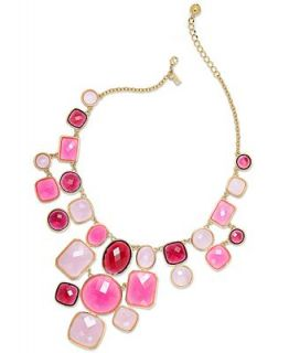 kate spade new york Necklace, Gold Tone Pink Stone Statement Bib Necklace   Fashion Jewelry   Jewelry & Watches