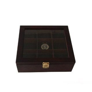 Wooden Watch Box for 9 Watches Large Compartments Clearance Window Goleden Lock Kitchen & Dining