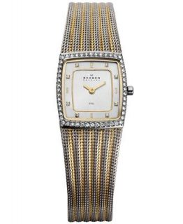 Skagen Denmark Watch, Womens Two Tone Stainless Steel Mesh Bracelet 22mm 384XSGSG   Watches   Jewelry & Watches