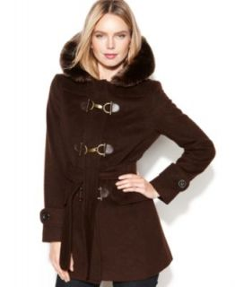 Calvin Klein Turn Key Hooded Faux Fur Trim Coat   Coats   Women