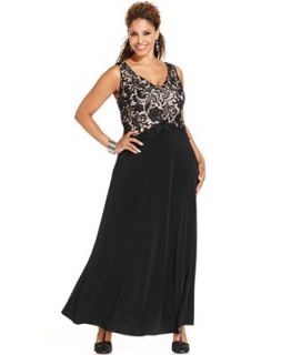 Patra Plus Size Dress and Jacket, Sleeveless Lace Jersey Gown   Dresses   Plus Sizes