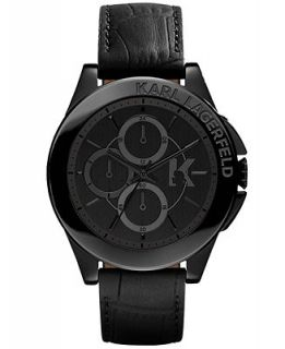 Karl Lagerfeld Unisex Chronograph Black Leather Strap Watch 44mm KL1406   Watches   Jewelry & Watches