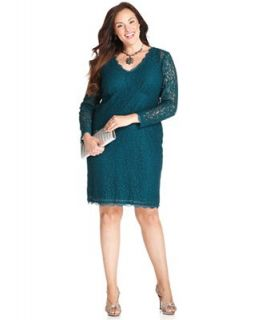 Adrianna Papell Plus Size Dress, Long Sleeve Illusion Lace V Neck   Dresses   Plus Sizes