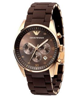 Emporio Armani Watch, Mens Brown Silicone Wrapped Gold Tone Stainless Steel Bracelet AR5890   Watches   Jewelry & Watches