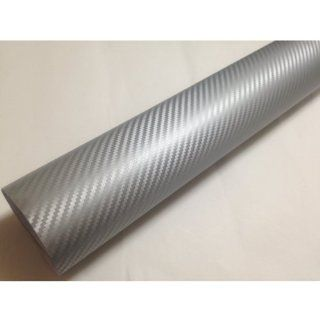 "[Taro Works] Car Stickers 3d Carbon Fiber Vinyl Flex Wrap 60""x12"" 152cmx30cm Silver"