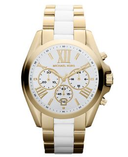 Michael Kors Womens Chronograph Bradshaw White Acetate and Gold Tone Stainless Steel Bracelet Watch 43mm MK5743   Watches   Jewelry & Watches