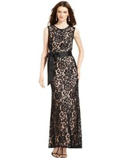 Betsy and Adam Dress, Sleeveless Belted Lace Gown   Dresses   Women