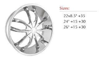 Sik 002 26x10 Chrome Finish Wheel 6x135 & 6x139.7 Bolt Pattern / +15mm Offset / 87.1mm Hub Bore Automotive