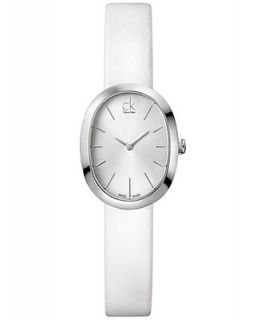 Calvin Klein Watch, Womens Swiss Incentive White Leather Strap 31x24mm K3P231L6   Watches   Jewelry & Watches