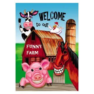 Welcome to the Funny Farm Barn Mini Flag  Outdoor Decorative Flags  Patio, Lawn & Garden