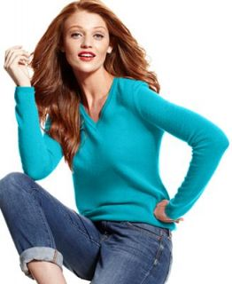 Charter Club Petite Sweater, Long Sleeve V Neck Cashmere   Women