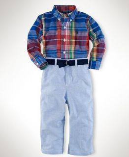 Ralph Lauren Baby Set, Baby Boys Madras Shirt and Oxford Pants   Kids