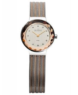 Skagen Denmark Watch, Womens Two Tone Striped Stainless Steel Mesh Bracelet 25mm 456SRS1   Watches   Jewelry & Watches