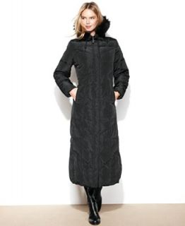 Jones New York Coat, Hooded Faux Fur Trim Maxi Puffer   Coats   Women