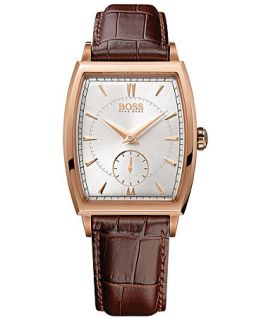 Hugo Boss Watch, Mens Brown Leather Strap 34mm 1512846   Watches   Jewelry & Watches