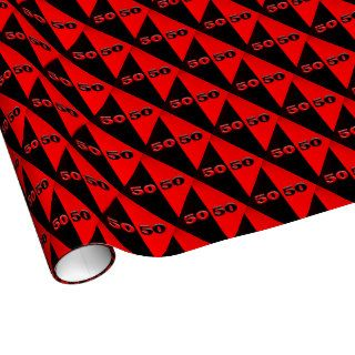 50/50  Red/Black Gift Wrap Paper