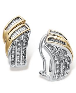 Diamond Earrings, Sterling Silver and 14k Gold Diamond Twist Earrings (1/2 ct. t.w.)   Earrings   Jewelry & Watches