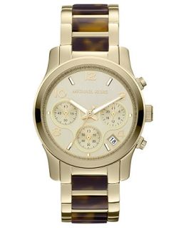 Michael Kors Womens Chronograph Runway Tortoise Acetate and Gold Tone Stainless Steel Bracelet Watch 38mm MK5659   Watches   Jewelry & Watches