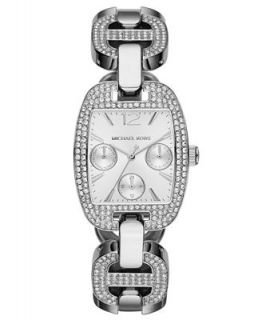 Michael Kors Womens Emma Crystal Accent Stainless Steel Link Bracelet Watch 38x29mm MK3233   Watches   Jewelry & Watches