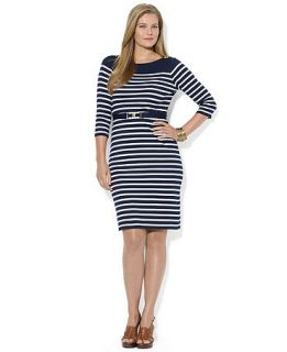 Lauren Ralph Lauren Plus Size Striped Belted Dress   Dresses   Plus Sizes