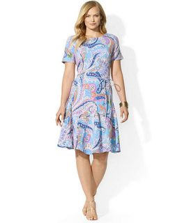 Lauren Ralph Lauren Plus Size Short Sleeve Paisley Print A Line Dress   Dresses   Plus Sizes