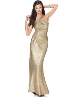 Betsy & Adam Dress, Sleeveless One Shoulder Metallic Evening Gown   Dresses   Women