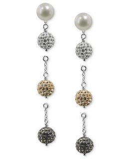 Honora Style Cultured Freshwater Pearl (8mm) and Crystal Interchangeable Earring Set in Sterling Silver   Earrings   Jewelry & Watches