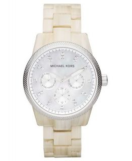 Michael Kors Womens Chronograph Ritz White Horn Acetate Bracelet Watch 37mm MK5625   First @   Watches   Jewelry & Watches
