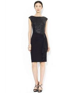Lauren Ralph Lauren Cap Sleeve Sequin Jersey Dress   Dresses   Women