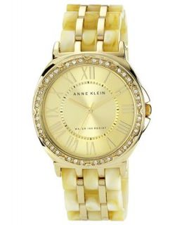 Anne Klein Watch, Womens Plastic Horn and Gold Tone Adjustable Bracelet 38mm AK 1134CHHN   Watches   Jewelry & Watches