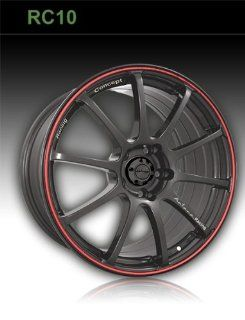 KATANA RC10 18X8+45 4X100+4X114.3 MATTE BLACK RED LINE Automotive
