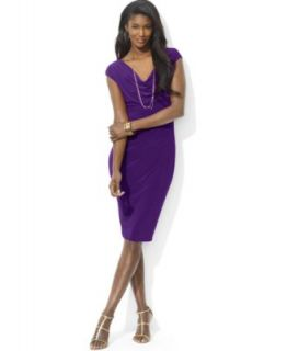 Lauren Ralph Lauren Cap Sleeve Satin Sheath Dress   Dresses   Women