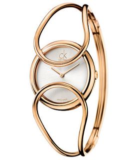 Calvin Klein Watch, Womens Swiss Inclined Pink Gold PVD Stainless Steel Bangle Bracelet 30mm K4C2M616   Watches   Jewelry & Watches