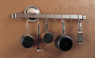 2 1/2 Foot Stainless Steel Bar Rack With Chrome Hooks   106 109 33 Kitchen & Dining